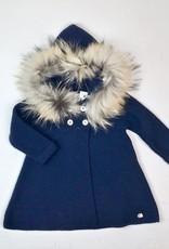 Juliana Infant Navy Knit Coat Fur Hood