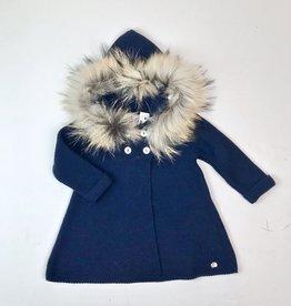 Juliana Infant Girls Navy Knit Coat Fur Hood