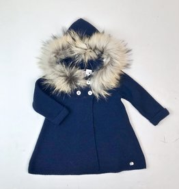 Juliana Navy Knit Coat Fur Hood 2084