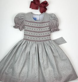 Anavini Girls Gray Dress w/Red Dots And Smocking