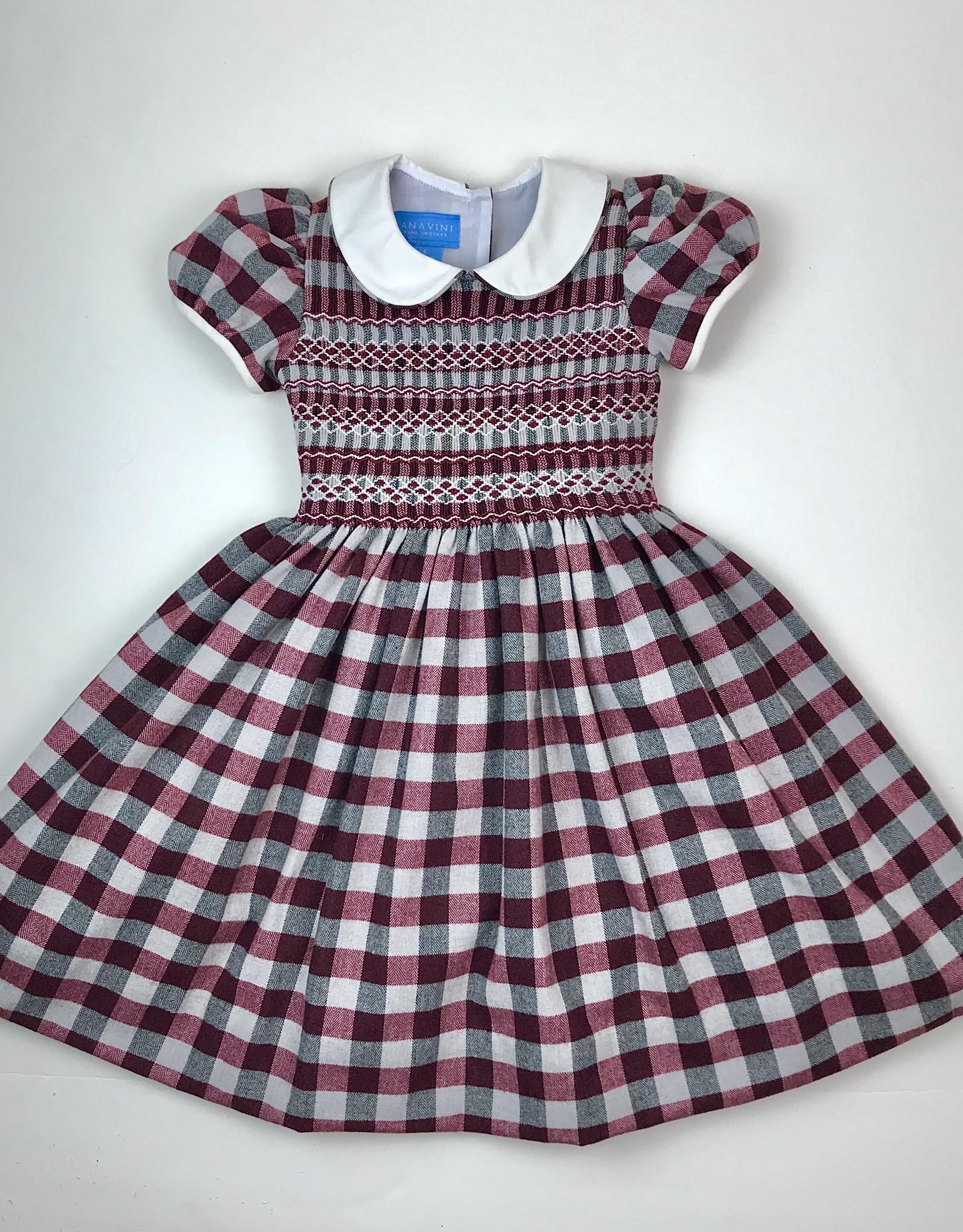 Anavini Burgundy/Gray Plaid Smocked Dress w/Collar
