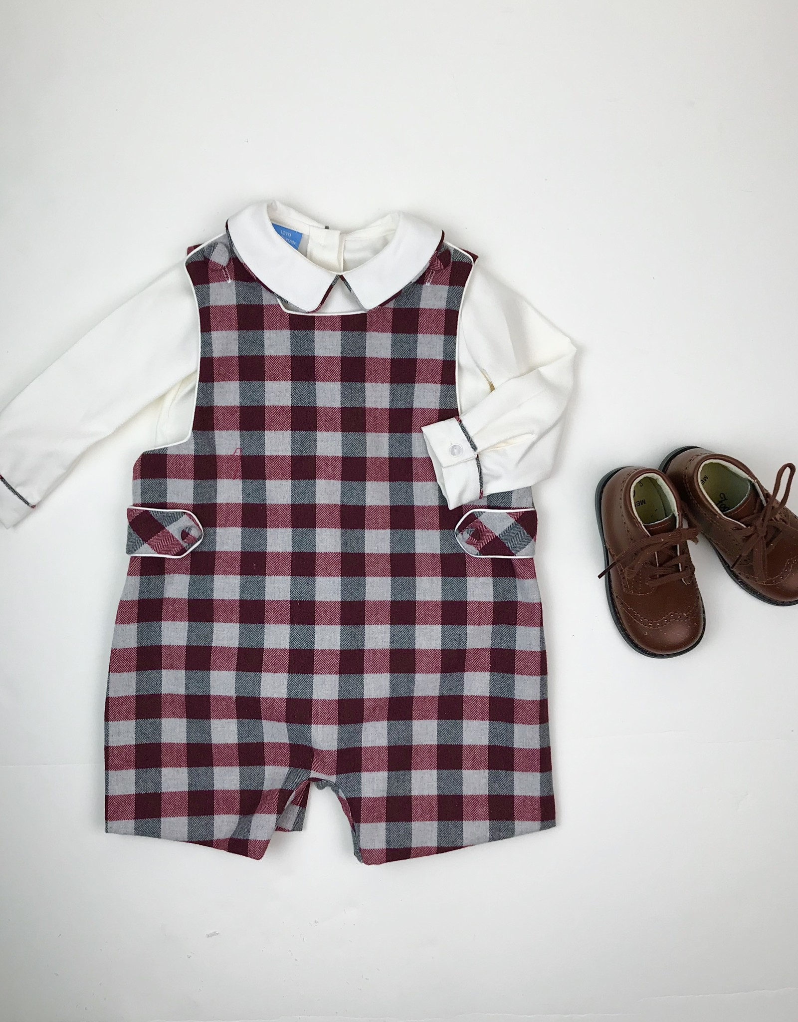 Anavini Infant Boys Burgundy/Gray Plaid Jon Jon w/ Shirt