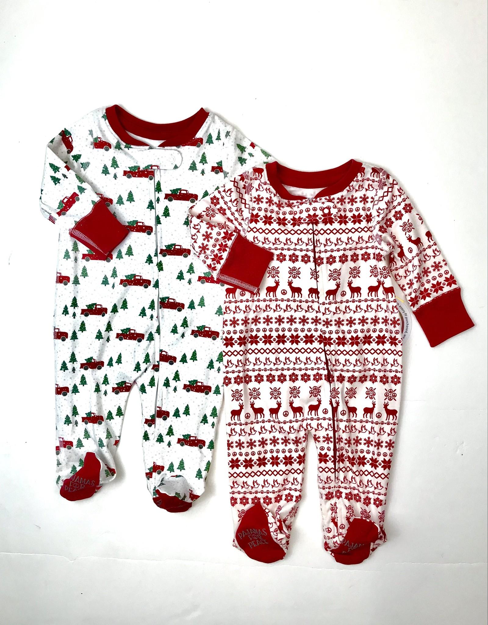Pajamas for Peace Christmas Print Footie With Zipper