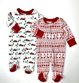 Pajamas for Peace Christmas Print Footie With Zipper