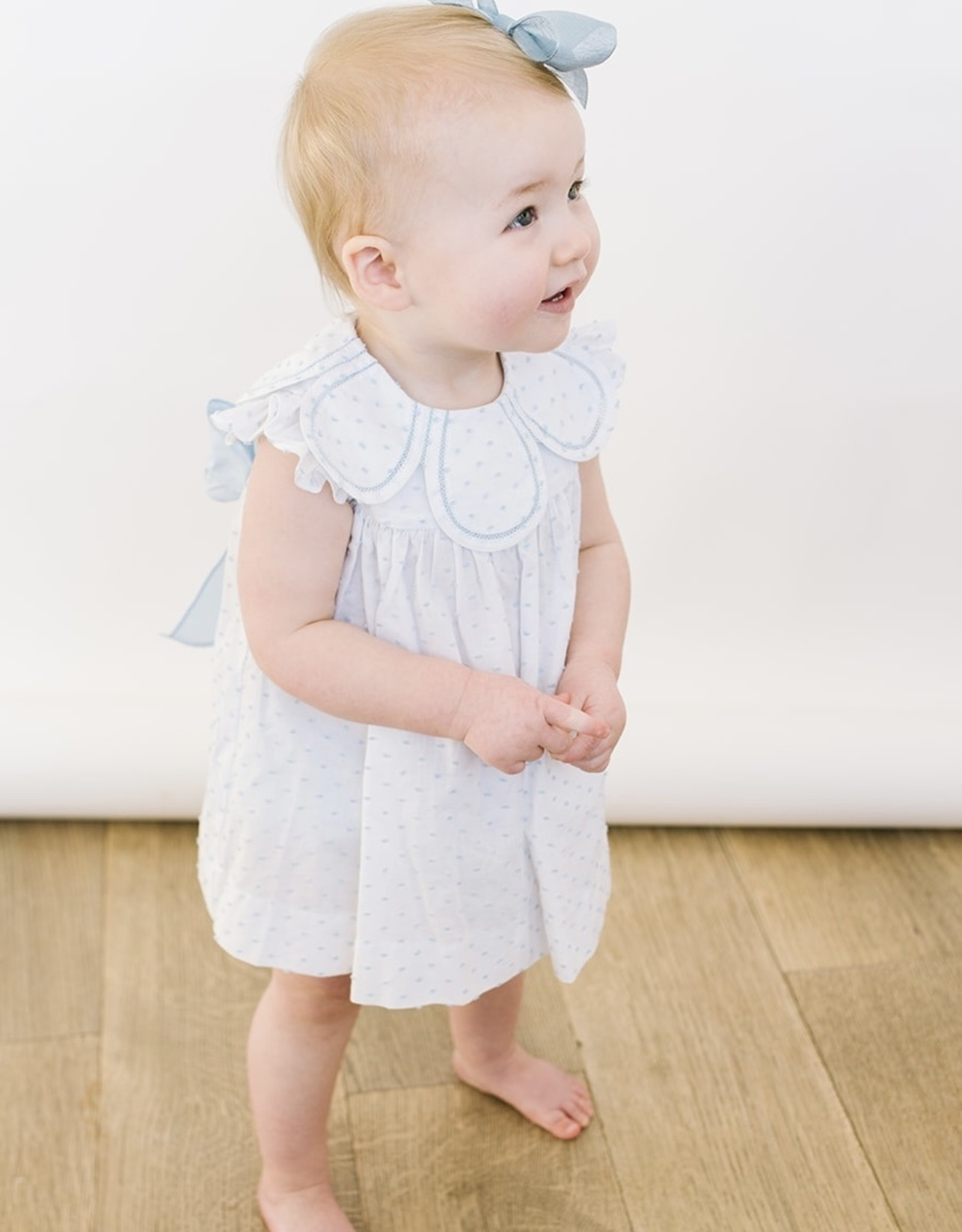 Sophie and Lucas LtBlue Dot Dresss Petal colllar and Bloomer 3001