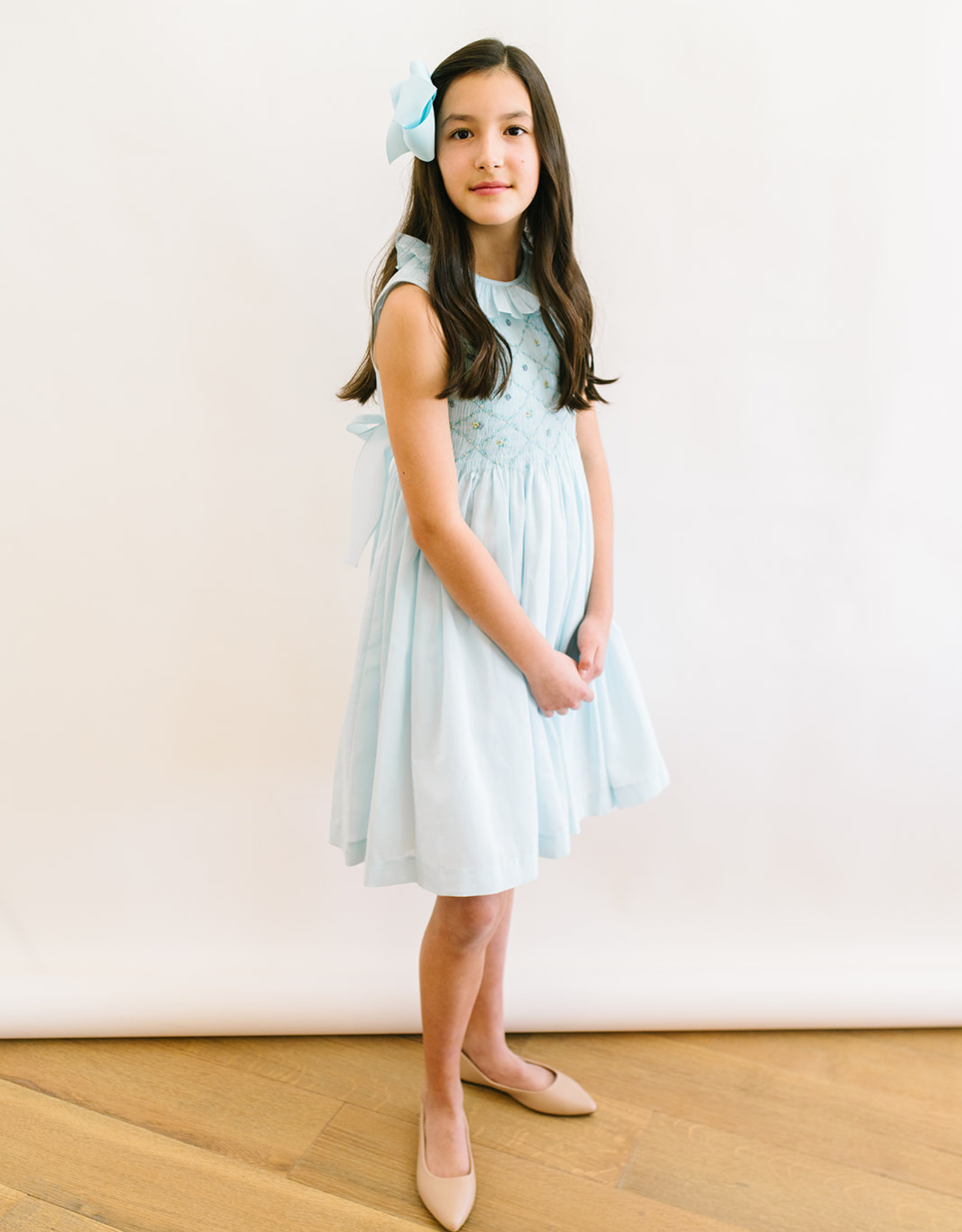 Luli Solid Blue Voile Dress with Lattice Smocking 7043