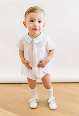 Luli White Romper with Blue Collar and Buttons