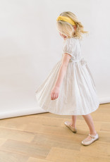 Luli Wheat and Floral Print Dress with Yellow Smocking