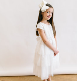 Sweet Kids Dress Off White Lace Bodice, Layered Mesh skirt