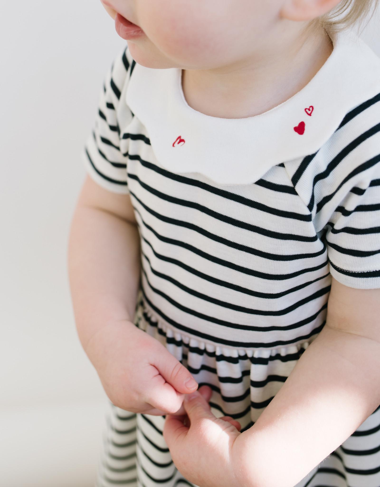 Petit Bateau Dress Navy Stripe Scallop Collar