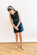 Gabby Navy Pique Dress White Piping