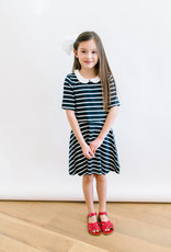 Petit Bateau Dress Navy Stripe knit with Round Collar
