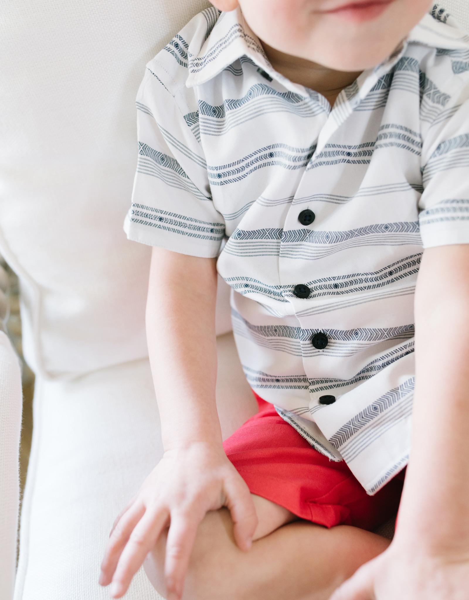 Leo and Zachary Shirt s/s White Black Tribal Stripe 5826