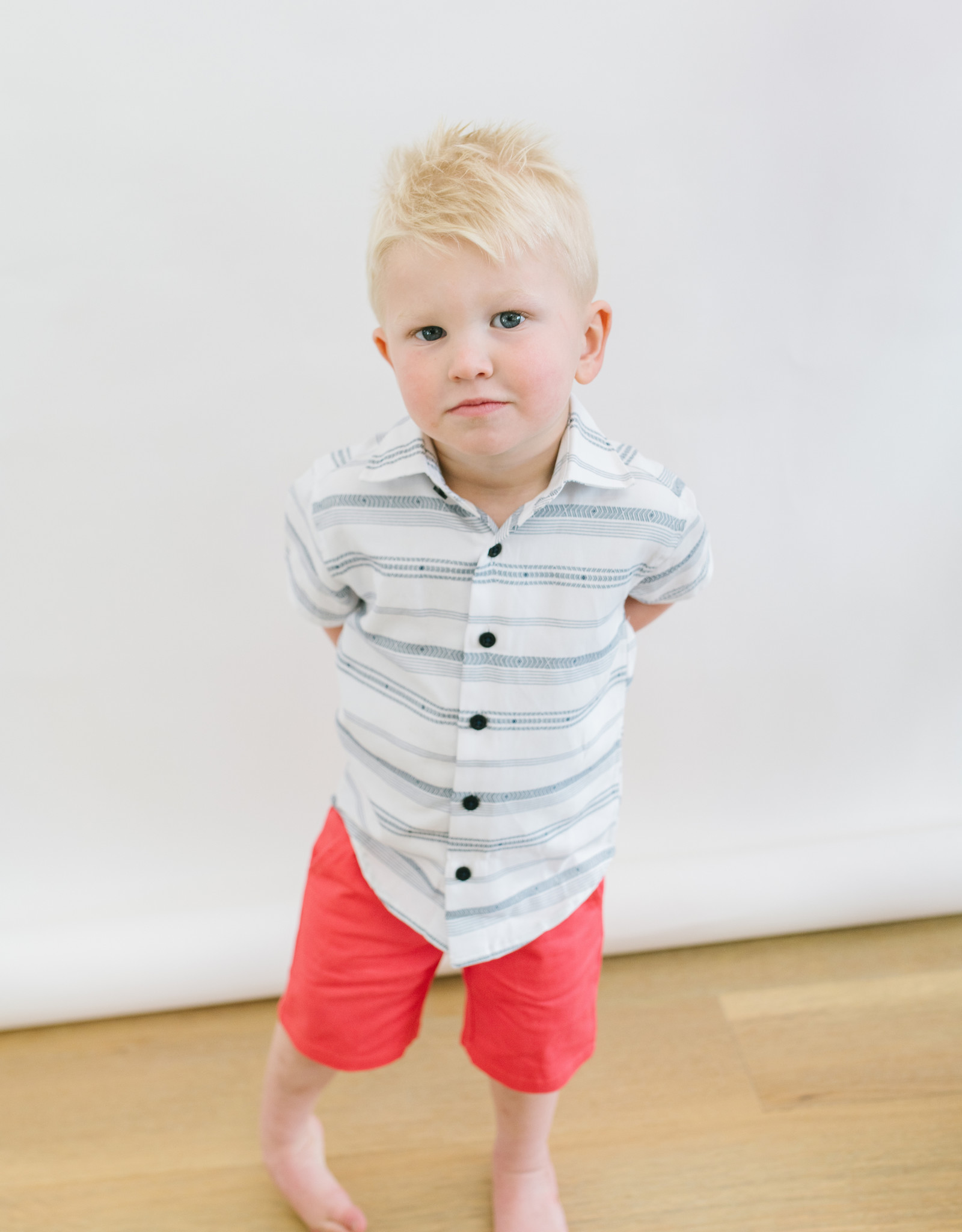 Leo and Zachary Shirt s/s White  Tribal Stripe