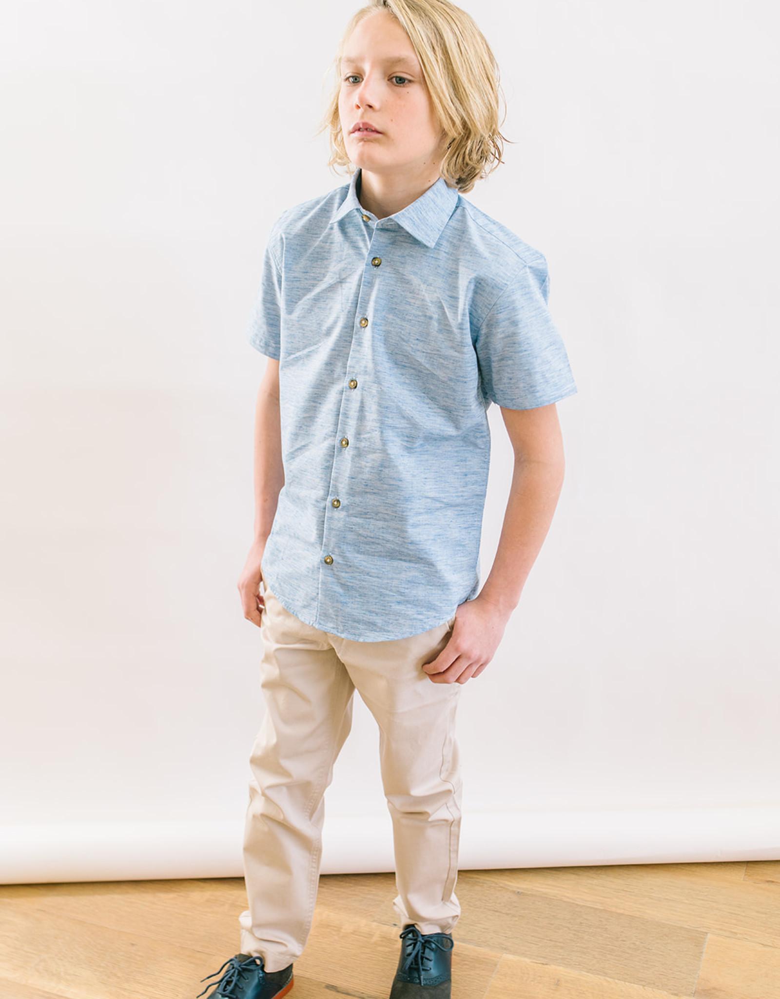 Leo and Zachary Shirt  Variegated Chambray Short Sleeves