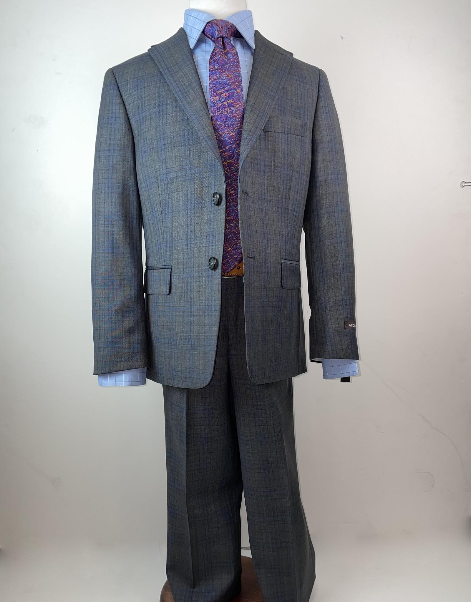 Michael Kors Suit Grey Light Blue Plaid