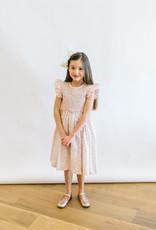 Luli Smocked Dress in Soft Pink Coral Aqua Print