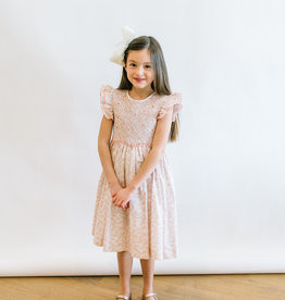Luli Smocked Dress In Soft Pink Print