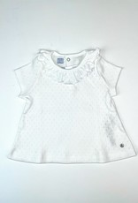 Petit Bateau Top Off White Pointelle With Ruffle Collar