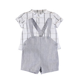 Mayoral Suspender Short Grey with Plaid Shirt
