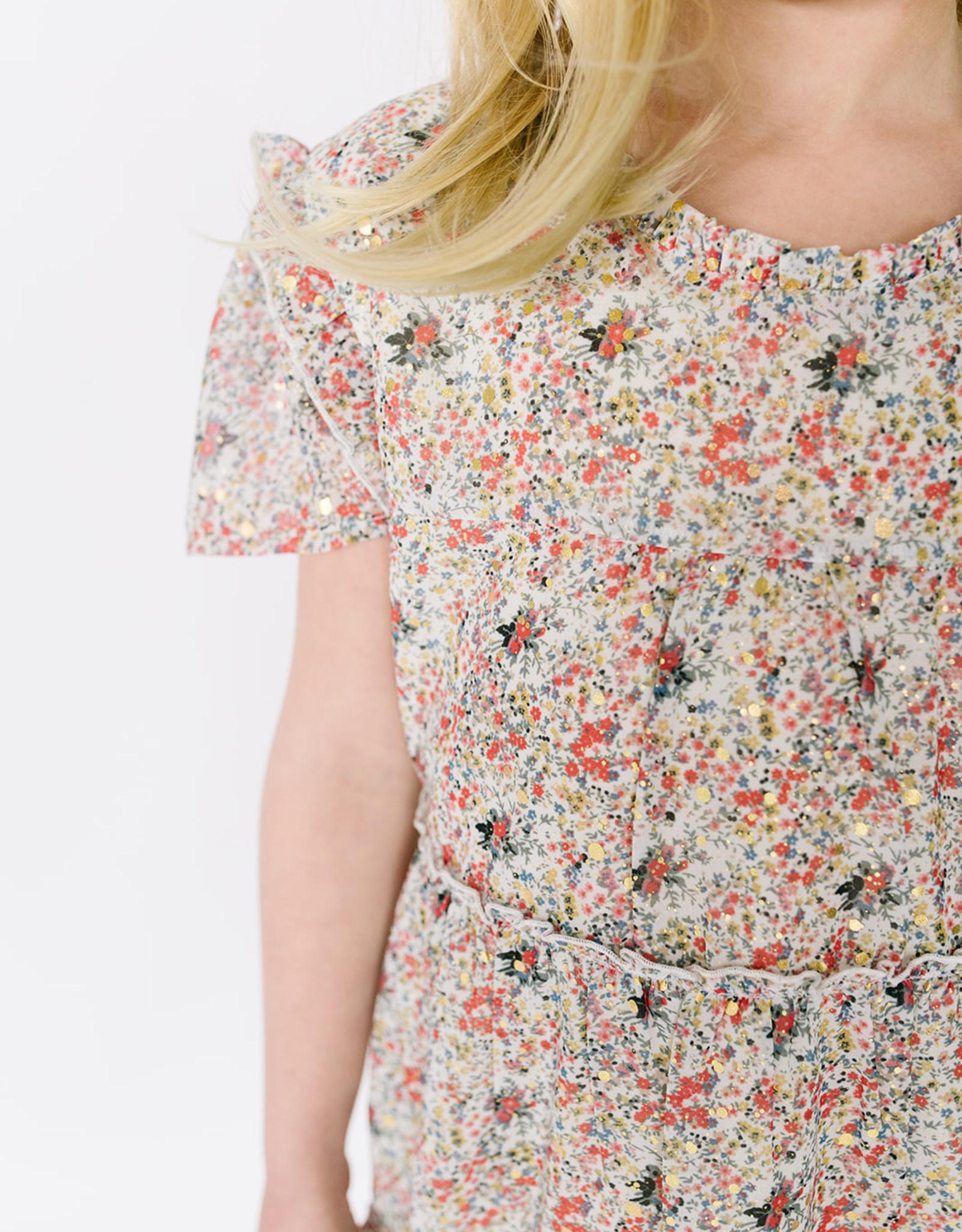 Dress Beige Floral Metallic Tiered