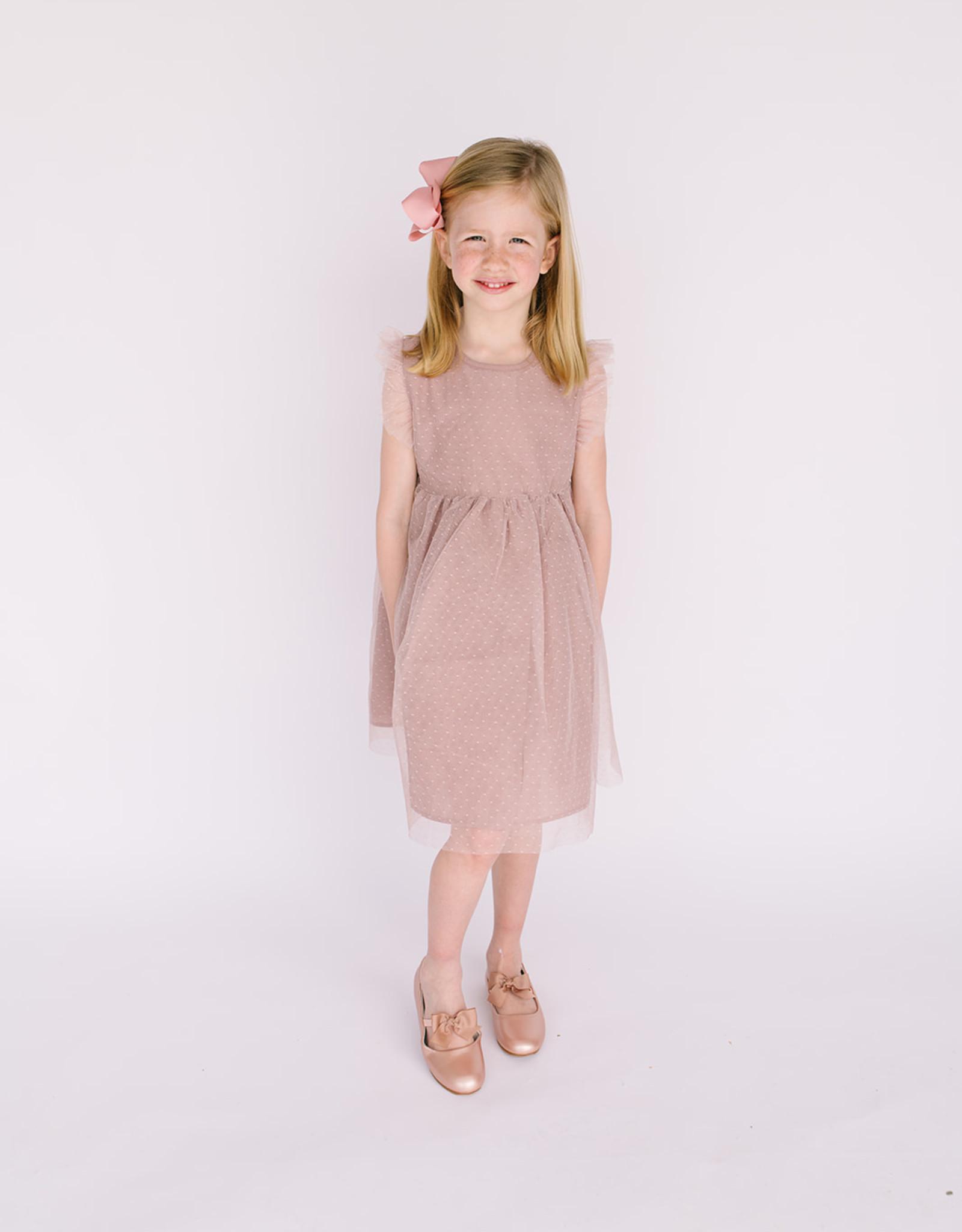 Creamie Dress Mauve Tulle flutter sleeve