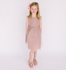 Creamie Dress Mauve Tulle Dots drop waist 609