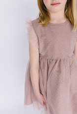 Creamie Dress Mauve Tulle Dots drop waist 609