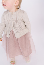 Mayoral Infant Cardigan Beige Metallic  Pointelle Ruffle