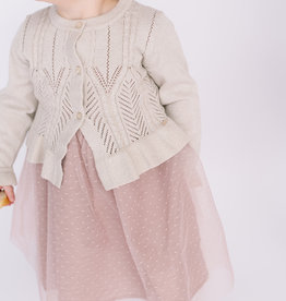 Mayoral Infant Cardigan Beige Metallic  Pointelle