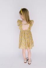 Mayoral Dress Mustard Crepe Taupe Leaf Print