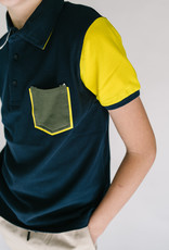 Mayoral Polo Navy With Yellow Sleeve