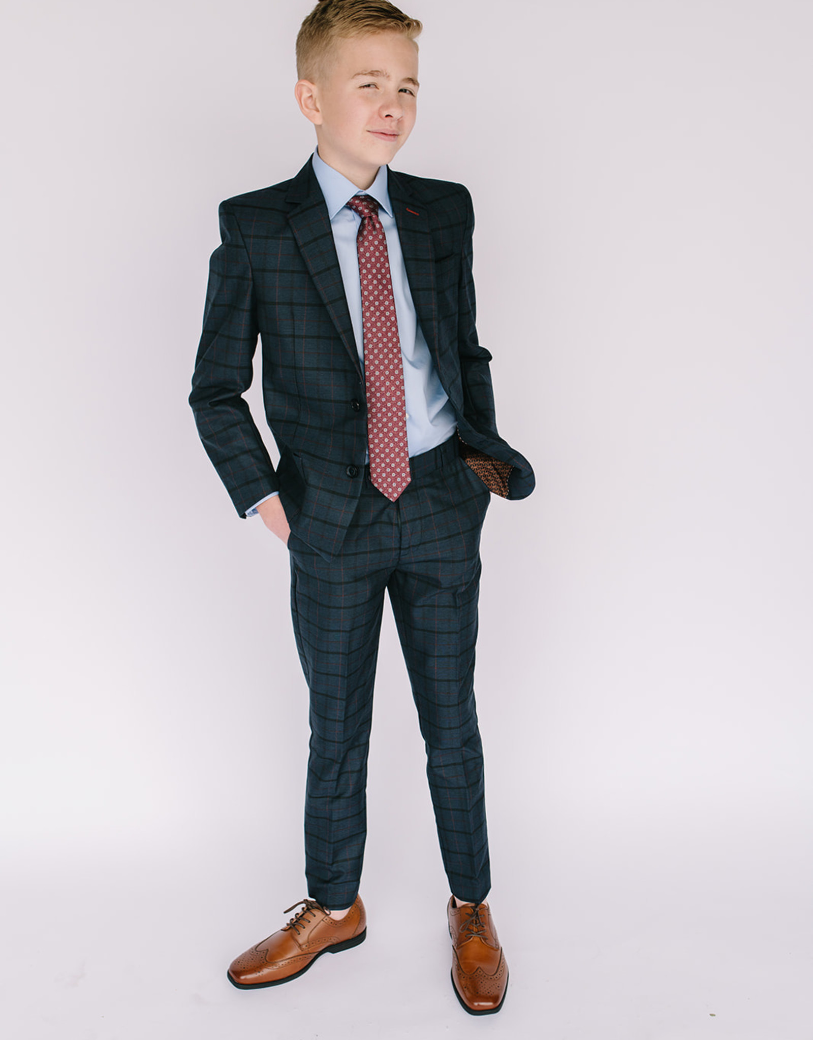 Leo and Zachary Suit Navy Rust Plaid
