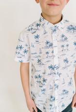Mayoral White Shirt Navy Palm Tree Print
