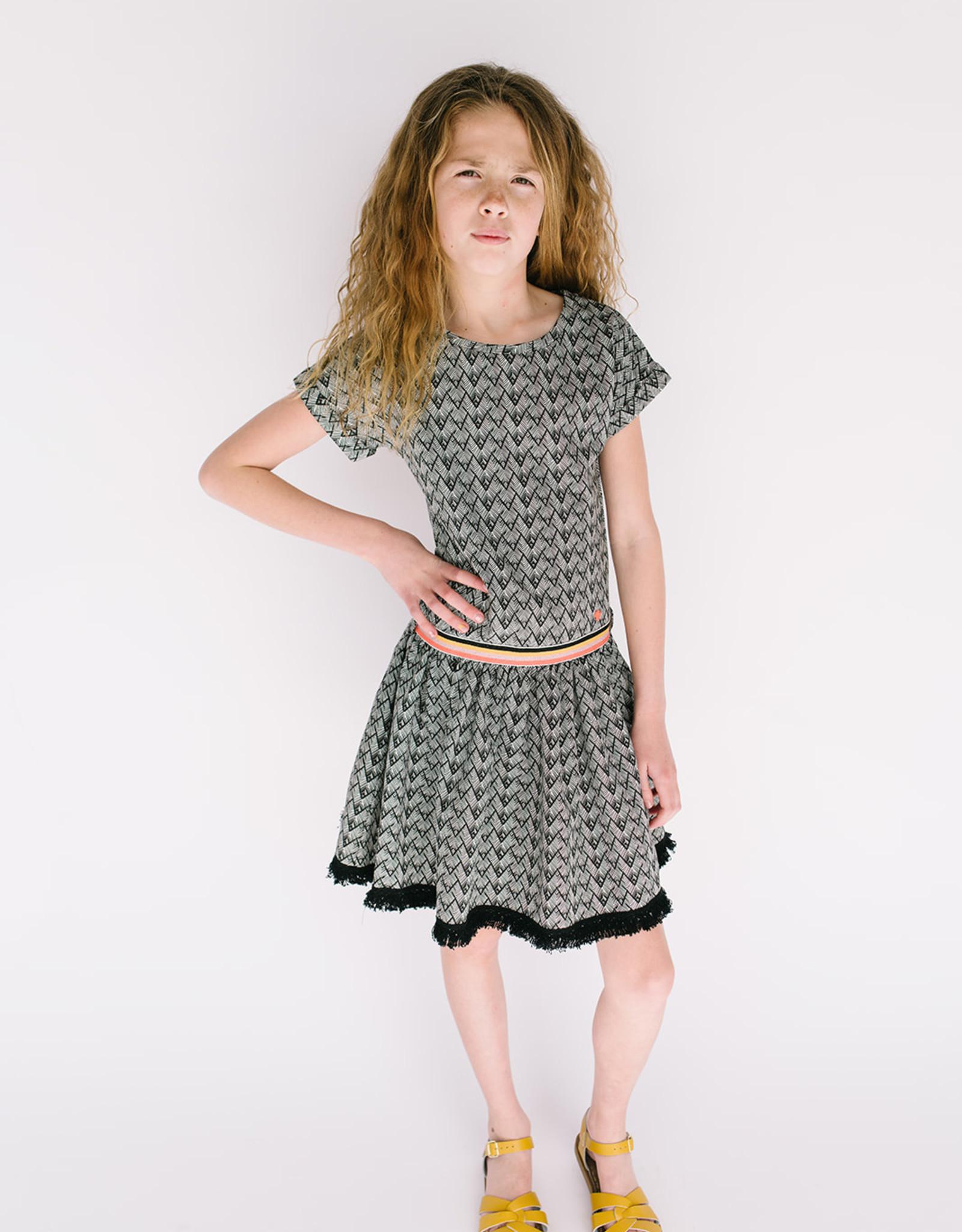 NONO Knit Dress Black White Pattern Multi Waist 5802