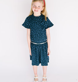 NONO Dress Navy w/ Blue Shark print elastic waist