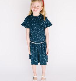 NONO Dress Navy With Blue Shark print elastic waist 5800