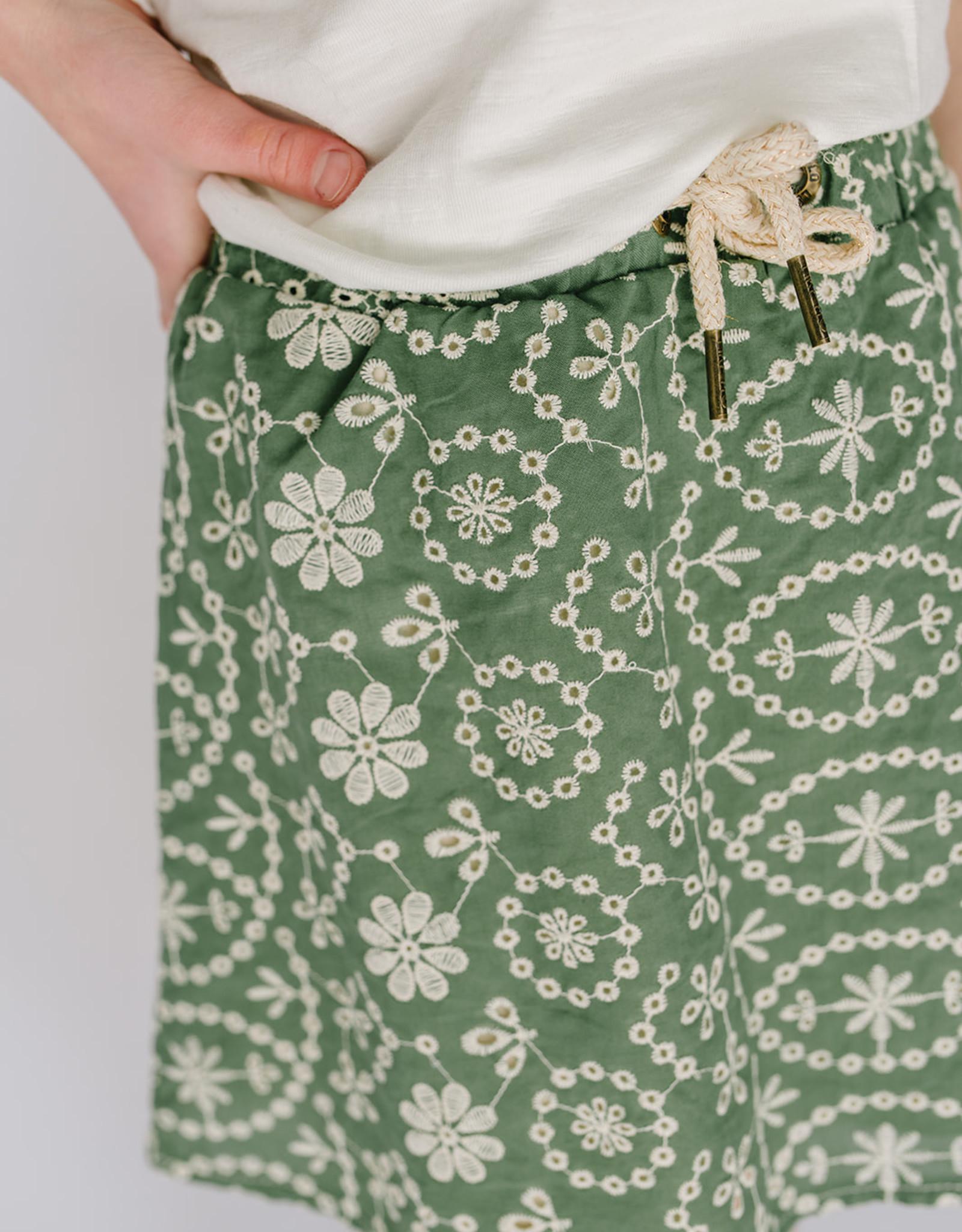 Like Flo Skirt Green Embroidered Eyelet 5730
