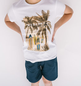 Mayoral White Tee with Palm Trees and Surfboards