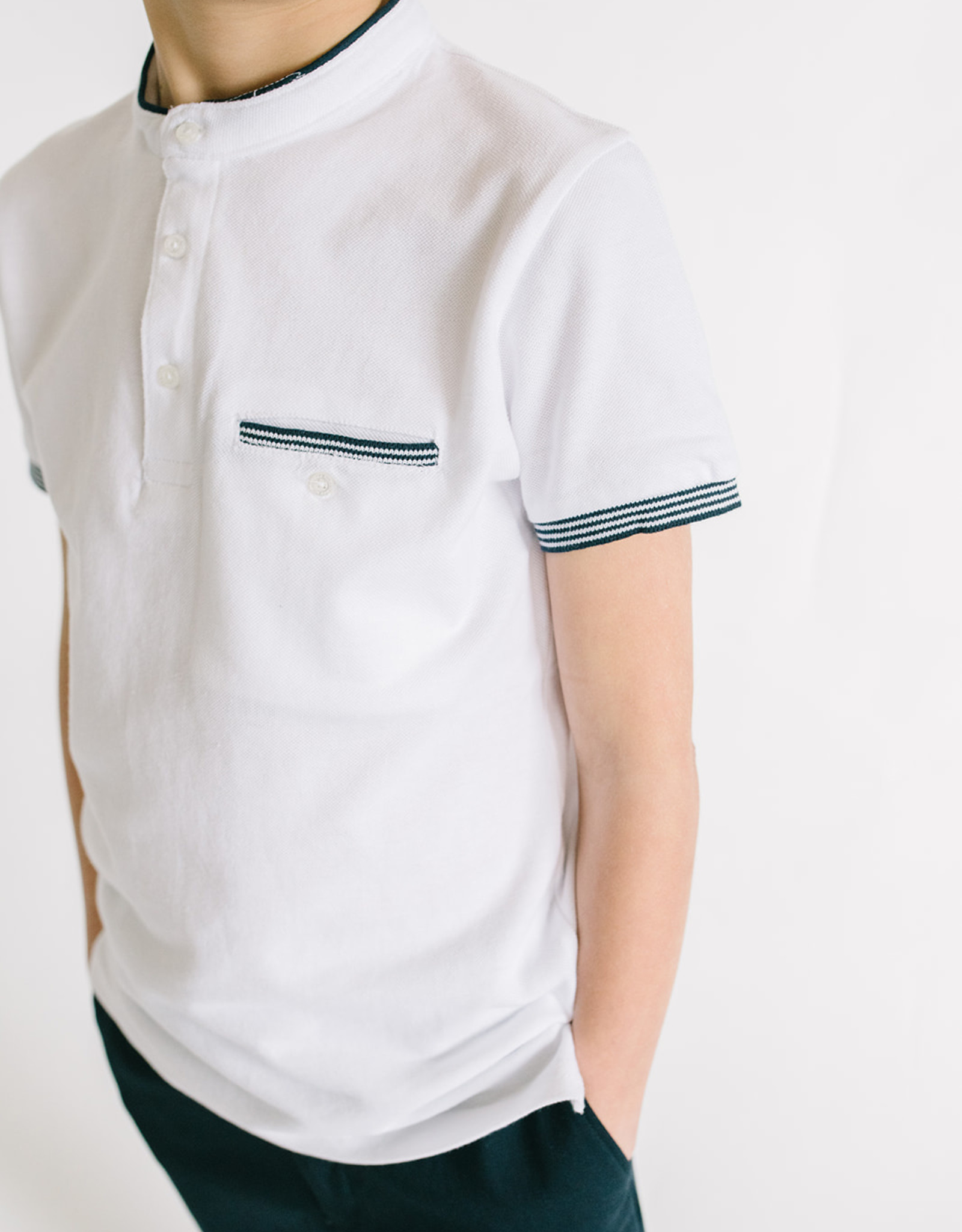Mayoral Boys White Henley With Navy Trim