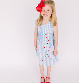 Sophie and Lucas Dress Blue Check Embroidered Ladybug