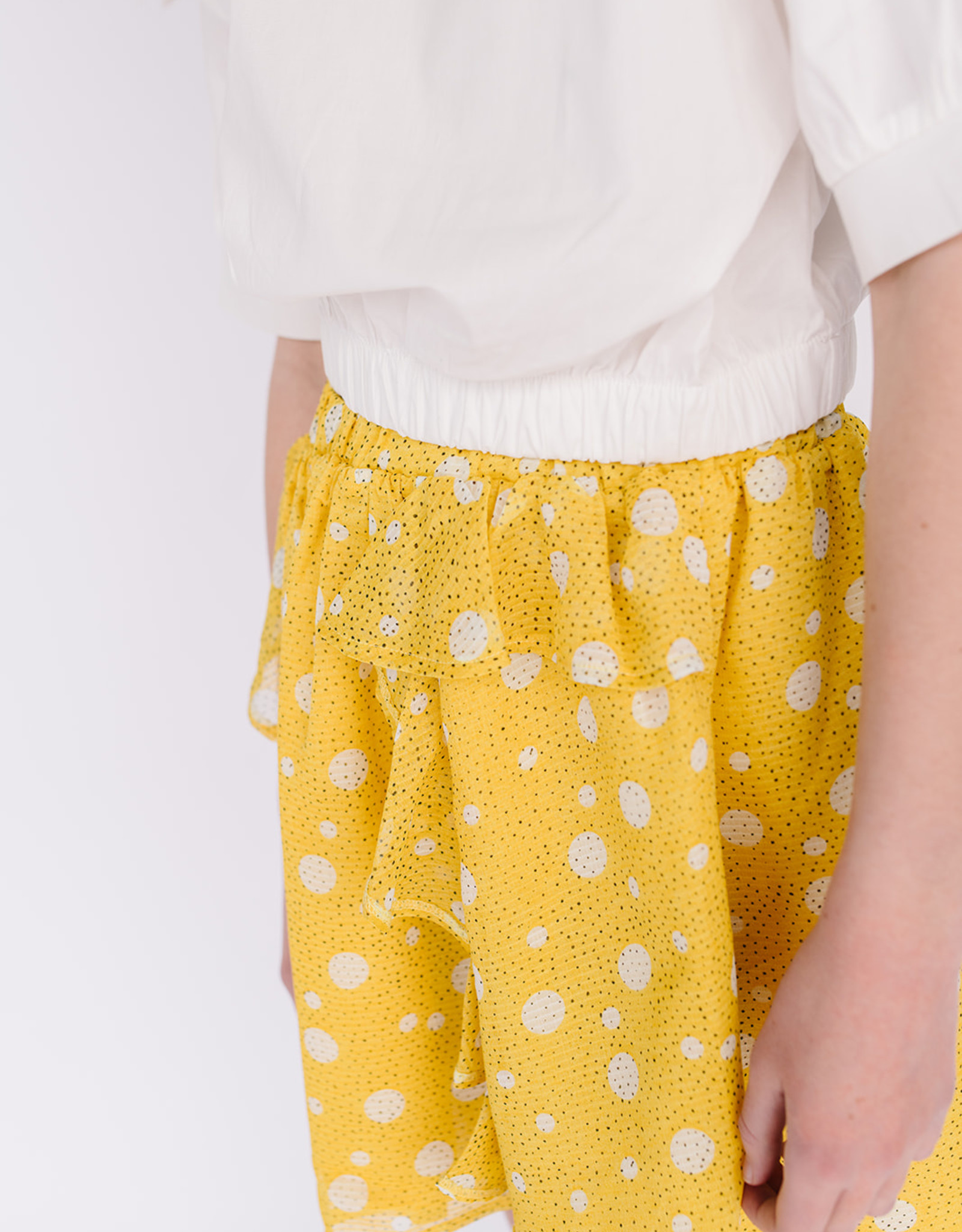 Mayoral Yellow Dot Ruffle Front Skirt