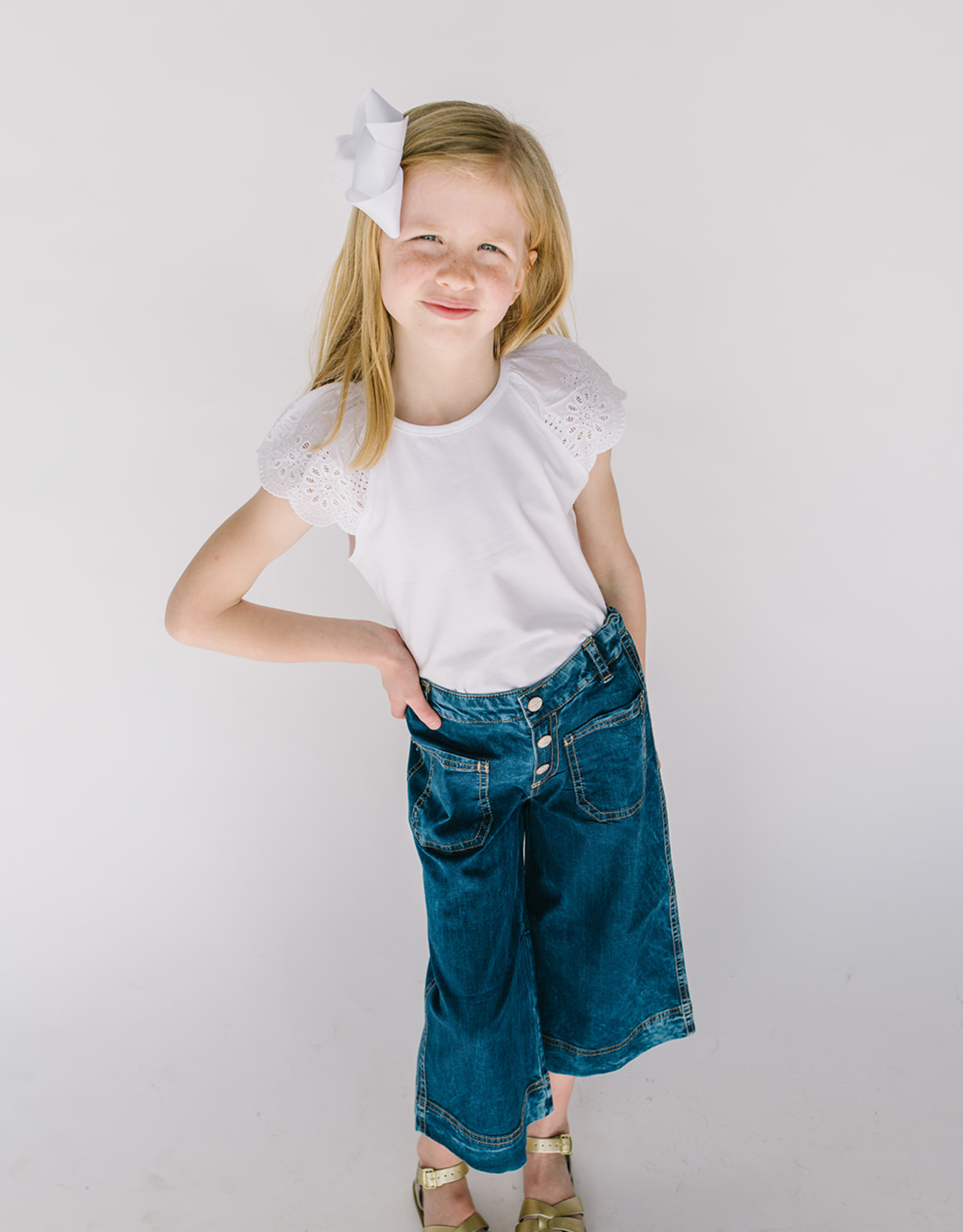 Mayoral Denim Wide Leg Culottes with Patch Pocket