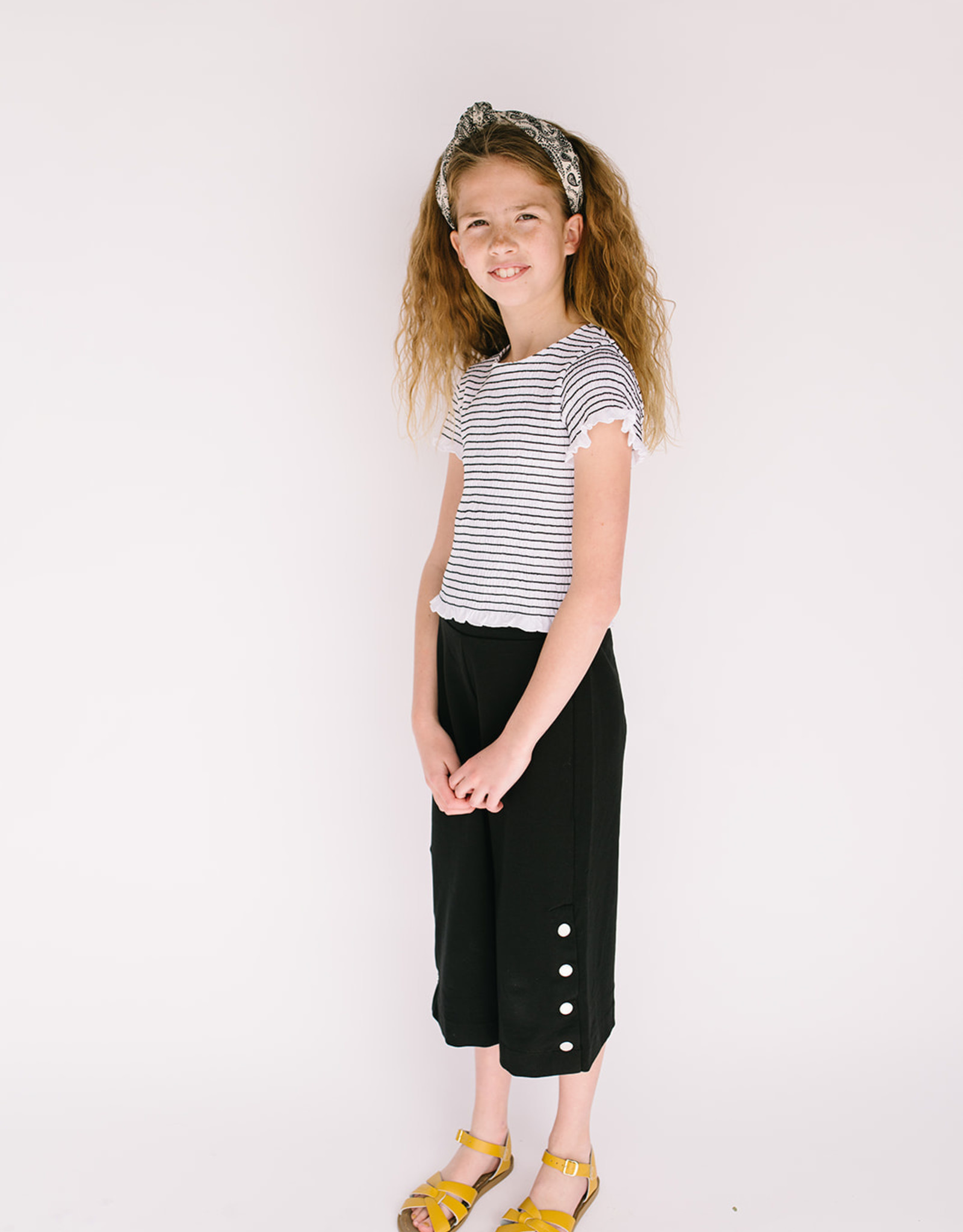 Mayoral Black Knit Wide Leg Pants with Button Detail