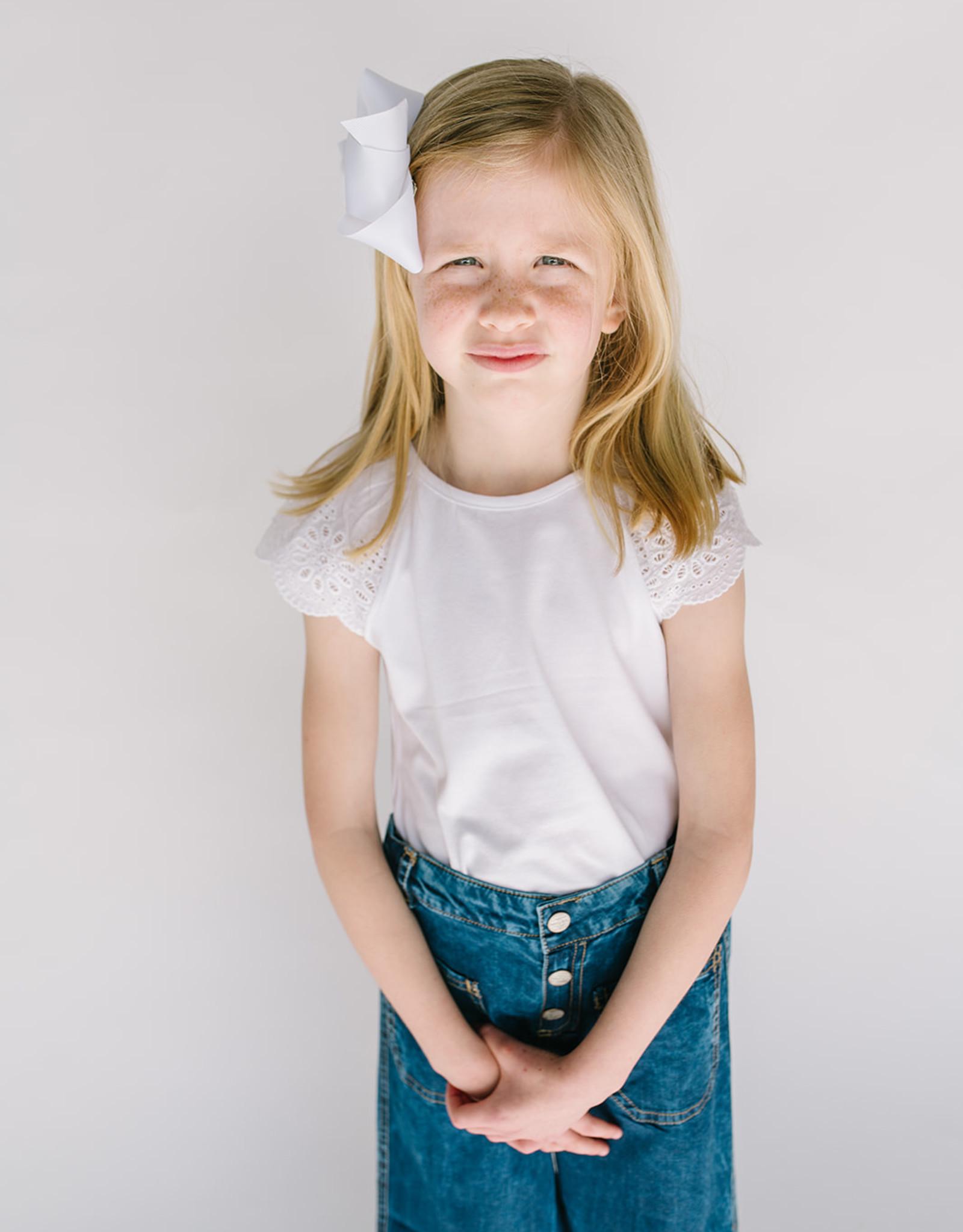 Mayoral Girls White Eyelet Sleeve Tee