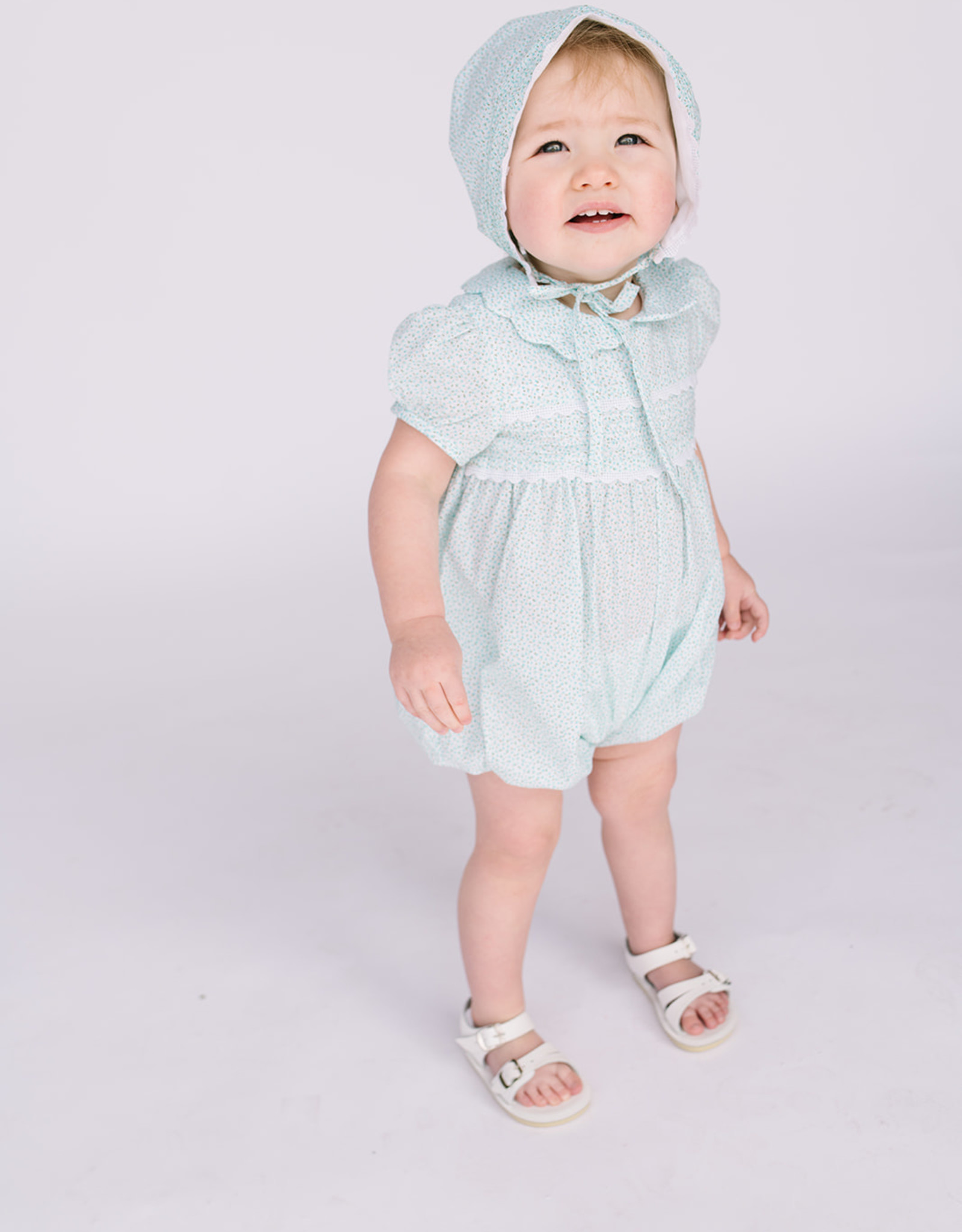 Luli Aqua Print Romper with Matching Bonnet