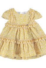 Mayoral Dress Yellow Print Tiered with small ruffle trim