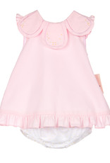 Sophie and Lucas Dress Pink solid petal collar and bloomer