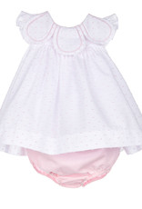 Sophie and Lucas Pink Dot DressPetal collar and Bloomer