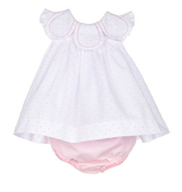 Sophie and Lucas Pink Dot Dress Petal collar and Bloomer